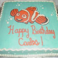 Nemo Here is my version of Nemo,thanks to the cc members pictures where i got my idea, made with piping gel, and vanilla cake.
