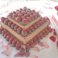 1St Grooms Cake chocolate cake with chocolate filling and chocolate buttercream w/choc covered strawberries