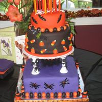 Halloween/birthday Cake This cake was covered in fondant, I colored white fondant with color gel. The cakes were all different flavors, one was chocolate, one was...