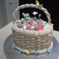Flower Basket Of Happy Roses Oval Cake with bsketweave and gum paste roses