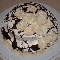 Stacked Ice Cream Cake Practice cake, need lots of practice on BC roses. This is a yellow cake with chocolate Icing and whipped topping. I went a little Pollack...