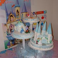 Cinderella Birthday This is marble and confetti and chocolate fudge cake for my daughter's 3rd birthday. The castle was too heavy and fell off the bottom...