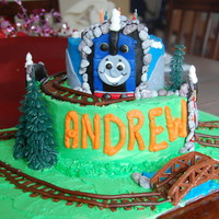 Thomas And Friends Birthday Cake This was made for a HUGE Thomas fan and inspired by so many cakes here on CC. Thomas is coming out the tunnel joined by his friends Percy...