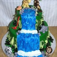 Jungle Waterfall This was for one of my friend's little girl. She wanted a jungle cake and was having a huge blow up waterslide. So I thought I'd...