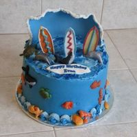 Surf's Up! Inspired by someon on CC...so thanks to them! Iced in BC w/fondant wave and fondant decos.TFL!