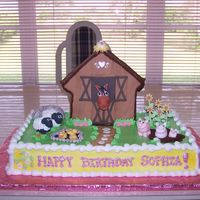 Barnyard Birthday Cake Buttercream with fondant animals and accents!