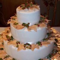 Fall Leaf Wedding Design fondant covered cake with gum paste leaves and real berries.