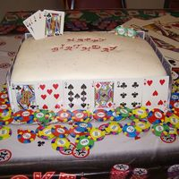 Casino Cake For 50Th Birthday sheet cake. fondant covered. real playing card border, full house inserted in and chocolate $50 medallions.