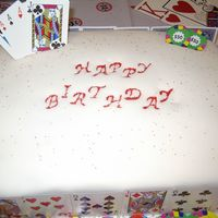 Casino Theme Sheetcake sheet cake. cannoli cream filling. fondant covered for 50th birthday party with casino theme.