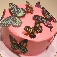 Butterflycake2.jpg Iced in buttercream and topped with butterflies made out of confectionary coating (wilton or merckens).