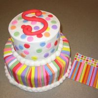 Sarah's Cake '06 Vanilla cake with vanilla buttercream, fondant stripes, accents and monogram.