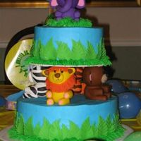Diego's 1St Birthday This is an adaptation of Wilton's Amazing Amazon cake. Cake is a peaches and cream cake with vanilla bc filling and icing. Animals and...