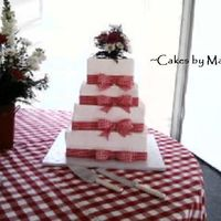 Square 4 Tier With Red Gingham Ribbon. This is a 12, 12, 10, 8 the 8 is a dummy.