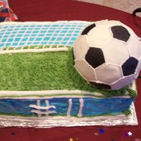 Soccer Birthday Cake  This cake was for the brother of the girl that I made the Dora cake for, they had their parties the same day. German chocolate cake with...