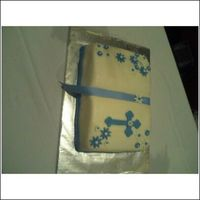 Baptism/christening Cake   Made this for my nephew's baptism. It was french vanilla with raspberry filling.