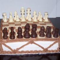 Chess Game Birthday Cake  Made this cake for my DH's birthday, he loves to play chess and is a chocaholic. German chocolate cake with White Chocolate Kahlua...