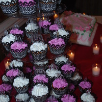 Bridal Shower Cupcakes  This is the cupcake tower that I made for my daughter's Bridal Shower. The cupcakes were french vanilla with guava filling. The colors...