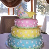 Baby Shower Cake My daughter and I made this cake for a cousin's baby shower. Vanilla cake moistened with syrup with lemoncello liquor and, filled with...