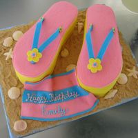Flip Flop Pool Bday Party Cake