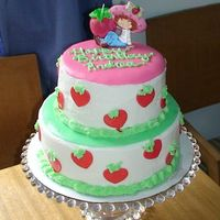 Strawberry Short Cake I made this for my daughters 5th bday. Its a white cake with strawberry filling. The cake is BC with MMF accents. This was my first tierd...