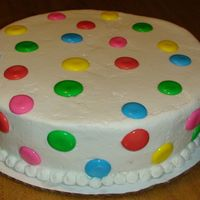 Cake2.jpg Again, just a practice cake, I still have a lot to learn. Its a white cake with buttercream frosting. The dots are RI.