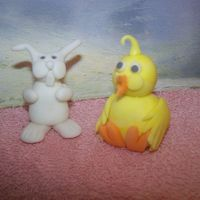 Easter Fondants   The chick was my 2nd attempt at a fondant figurine. I made the rabbit the day before, but thought they looked cuter together.