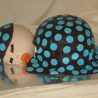 Sleeping Baby   This was a cake I did for a fund raiser for the March of Dimes. It is white cake covered in buttercream and then fondant.