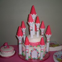 Alaina's First Birthday Castle cake using Wilton kit.