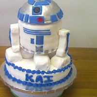 R2D2 R2D2 - 10 in round bottom layer, 2 6 in rounds stacked with half a sports ball on top. R2D2 covered in fondant with fondant accents. This...