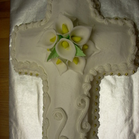 Easter Cross With Calla Lillies White cross cake, with gumpaste Calla Lillies