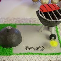Weber Grill lid and grill are cake iced w/ bc on a fondant patio w/ bc grass. fondant wheels and slab of meat, grate is lollipop sticks and aluminum...