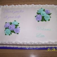 Thank You/welcome This cake the customer want to tell everyone thank you for all their help while she was without a teachers aid and then the other half of...