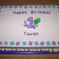 1St Birthday Cake  This cake design was from the napkin the customer brought to me. The number 1 is made from fondant and then used and edible marker to draw...