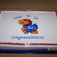 College Graduation   I enjoyed doing this cake being a KU fan. This cake was for a University of Kansas graduate.