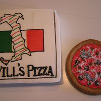 Pizza And Box The pizza box is cake. The pizza is a cookie with buttercream sauce and cheese and fondant toppings.