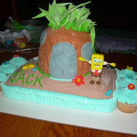 Spongebob Squarepants I used confetti cake mix for the cake and buttercream icing. The pineapple was made with a small, round pan as the base and half of the...