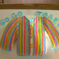 Joseph And The Amazing Technicolor Dreamcoat Made for a cast party after the production my son was in. Yellow cake covered in buttercream and fondant decoration. Chocolate coins for...