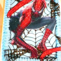 Spiderman This was done for my friend's son birthday. It was a half sheet and the spiderman was from edible paper with fondant. The web was made...