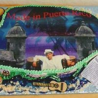 Puerto Rico Island Cake This cake was done for a friend of mine who had a show called Made in Puerto Rico. The top was edible paper as with the pics around the...