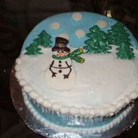 "Birthday Cake For My Mom (Her Birthday Is The Day After Christmas)  My attempt at the Whimsicle Bakehouse's ""winter wonderland"" cake. Didn't quite turn out like I had hoped but I still..."