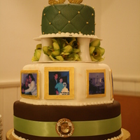 50Th Anniversary The theme colors for the party were brown, sage green and gold. Bottom tier chocolate cherry cake and top two tiers french vanilla with...