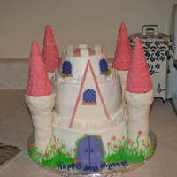 Princess Castle Cake This is an 8 inch cake, a 6 inch cake and a short 4 inch cake. The towers are ice cream cones covered in fondant. Cakes covered in...