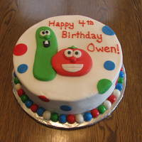 Veggietales Cake This is a 10 inch cake covered in buttercream with fondant accents.