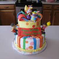 Dora Diego Cake This is an 8 inch with a 6 inch cake on top. The client gave me a picture to copy. It is buttercream with fondant accents. The characters...