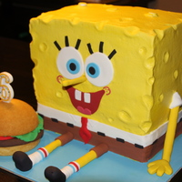 Spongebob And His Krabby Patty All buttercream with fondant accents. Made for my son's 6th birthday!