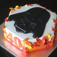 Darth Vader Chocolate Sour Cream cake with Dark Chocolate Truffle Filling. Cake is iced with SugarShack's BC; Darth's head is hand-molded...