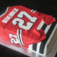Jeremy Roenick Throwback Jersey 10x15 covered in Satin Ice w/all fondant accents.