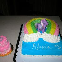 First Birthday My Little Pony This cake was made for a friend whose little girl is a little cowgirl. I made her little cake out of buttercream and I wanted it to have a...