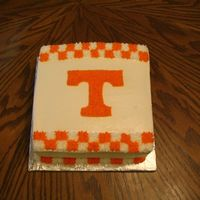 "Ut Vols Cake A simple 8"" square white cake with white BC icing. This is for one of my kids' teachers at school who is a UT fan."