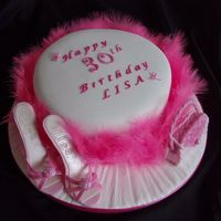 Hot To Trott Sugarpaste Cake decorated with Marabou Feathers, Shoes and Purse for a young lady who loves Shopping for both, in Hot Pink and White